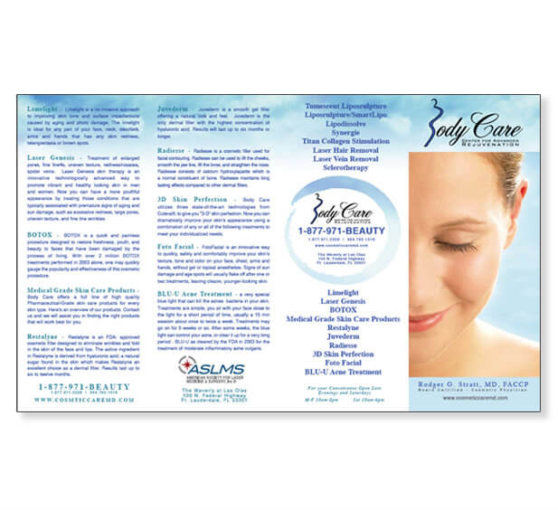 Plastic Surgeon WordPress Web Site Brochure Design Medical Brochure Design Tri Fold Brochure Design Miami