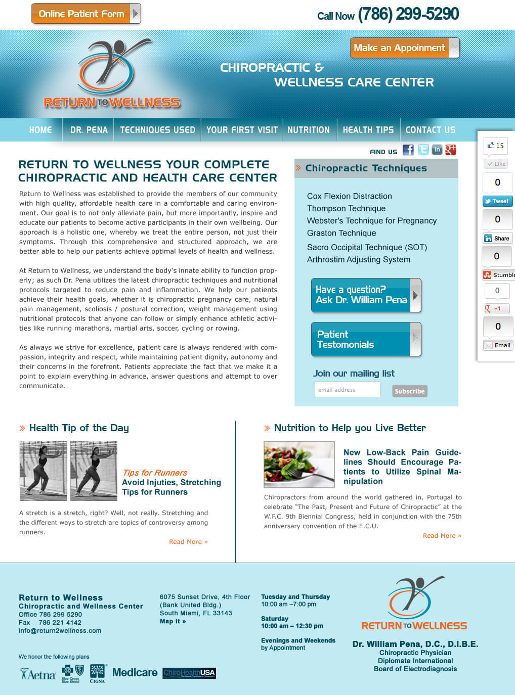 Chiropractor and Wellness Center Medial Web Site design and Basic SEO.