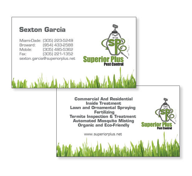 Superior plus pest control wordpress web site design miami for Business card miami