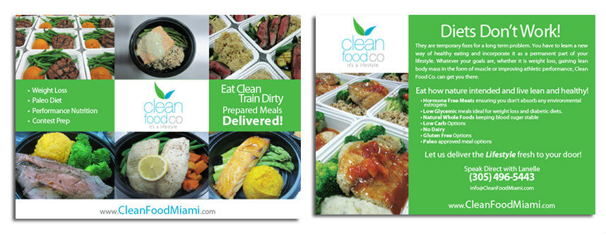 Restaurant Postcard Flyer Design Catering Graphic Design Fitness Brochure Design Miami Healthcare Graphic Design
