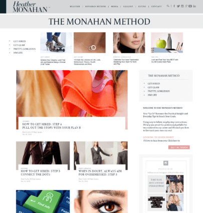 Heather Monahan WordPress design