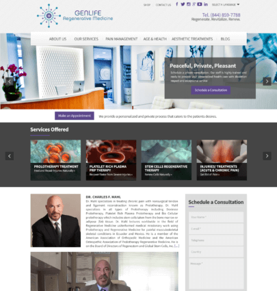 medical wordpress sites miami genlife