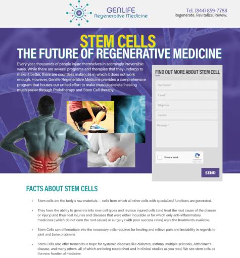 GenStem Regeneratieve Medicine – Landing Pages