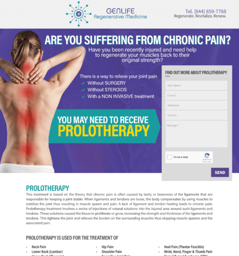 Miami Prolotherapy – Landing Pages